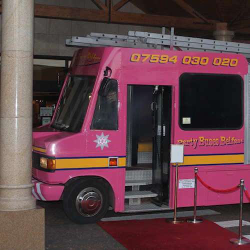 Pink Fire Engine party bus Belfast